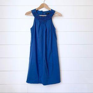 BCBG Blue Rosette Bubble Hem Dress